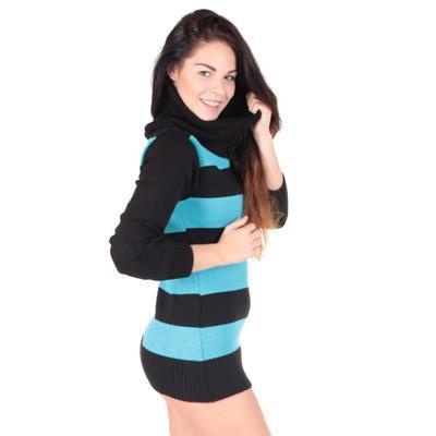 Luxusní modrý pulovr Tereza s rolákem - 1
