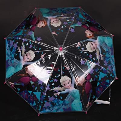 Průhledný holový dětský deštník Frozen růžový - 1