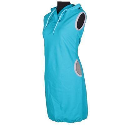 Dámská šatovka Wendy modrá s kapucí - 1