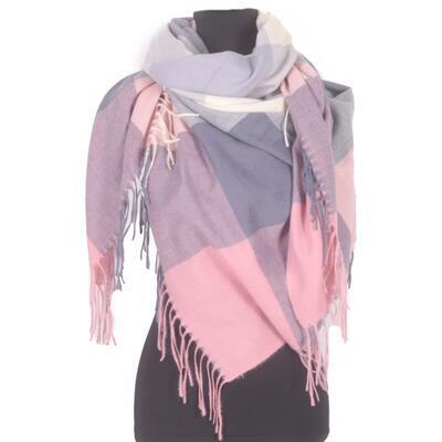 Velký zimní čtvercový šátek Bára růžový