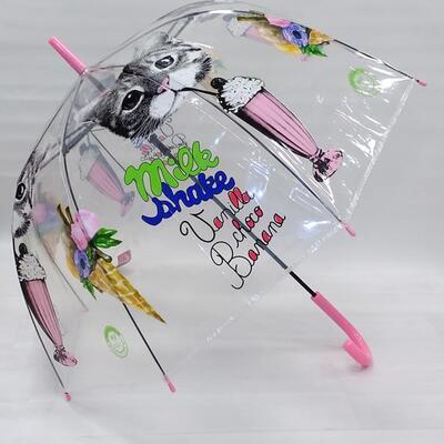 Průhledný holový deštník Mourek růžový - 2