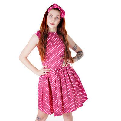 Tmavě růžová mašle do vlasů Sabrina s puntíky - 2