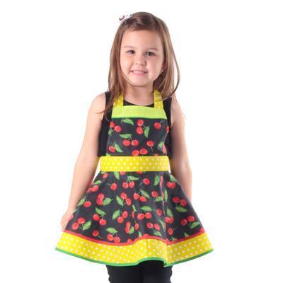 Dívčí černá zástěra Beatha s třešněmi - 2