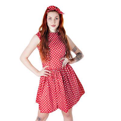 Červená mašle do vlasů Barbara s velkými puntíky - 2