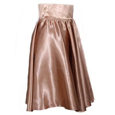 Hnědá saténová sukně s pevným pasem Kimberly - 2