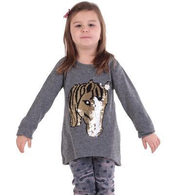 Dívčí svetr s měnícím obrázkem Pedro sv. šedý - 2