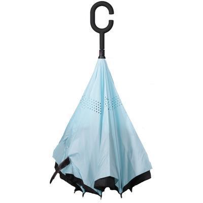 Obrácený jednobarevný deštník Lucas světle modrý - 2