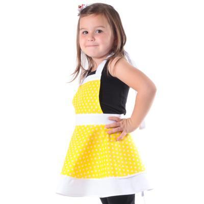 Dívčí žlutá zástěra Nina s puntíky - 2