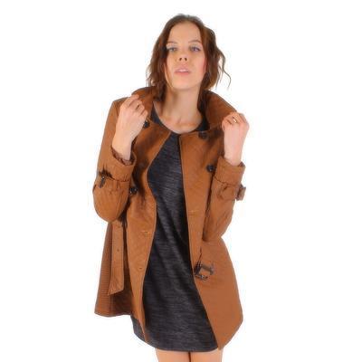 Luxusní prošívaný hnědý kabát Celest - 2