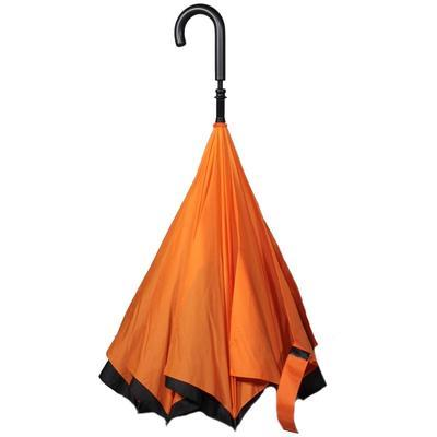 Obrácený oranžový jednobarevný deštník Velerie - 2
