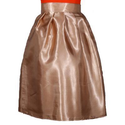 Hnědá saténová zavinovací sukně Victorie - 2