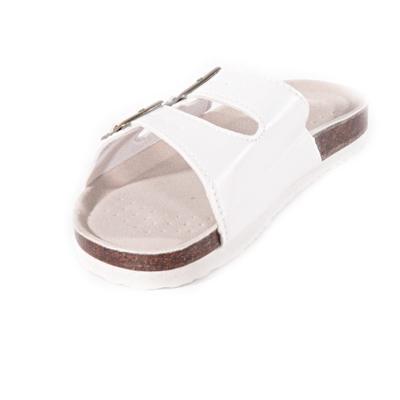 Bílé páskové korkové pantofle Simba - 2