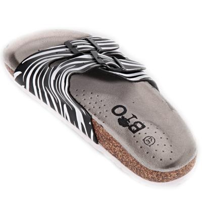 Pruhované pantofle Erika černé - 2