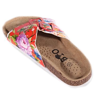 Červené korkové pantofle Kvido s květy - 2