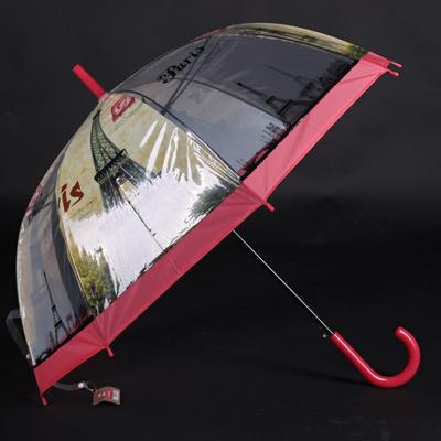 Automatický průhledný dámský deštník Dean červený - 2