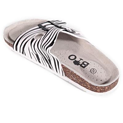 Pruhované pantofle Erika bílé - 2