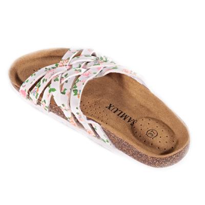 Květované páskové pantofle Silva bílé - 2
