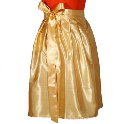 Zlatá saténová zavinovací sukně Victorie - 2