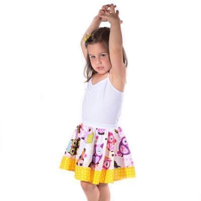 Dívčí žlutá kolová sukně Beata se sovičkami - 2