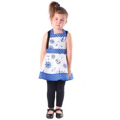 Dívčí modrá zástěra Dorin s kormidly - 2