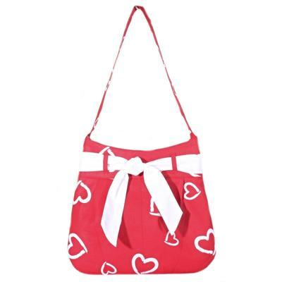 Červená plátěná kabelka Aurelie se srdíčky - 2