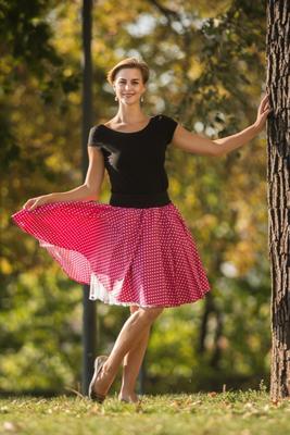 Růžová kolová sukně Adel s puntíky - 2