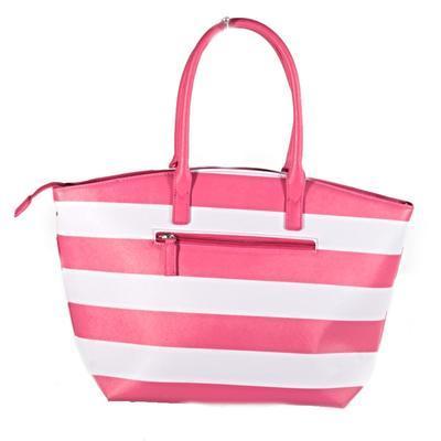 Pruhovaná dámská kabelka Lerry růžová - 2