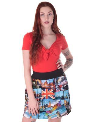 Barevná balounová sukně Izabell s potiskem Londýna - 2