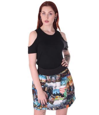 Barevná balounová sukně Edita s potiskem New Yorku - 2