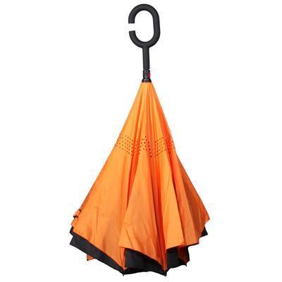 Obrácený jednobarevný deštník Lucas oranžový - 2
