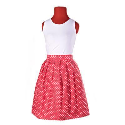 Puntikatá červená zavinovací sukně Merisa - 2