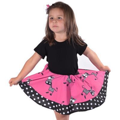 Dívčí kolová sukně Zebra - 2