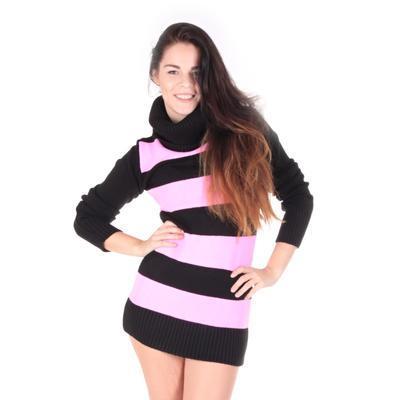 Luxusní růžový pulovr Tereza s rolákem - 2