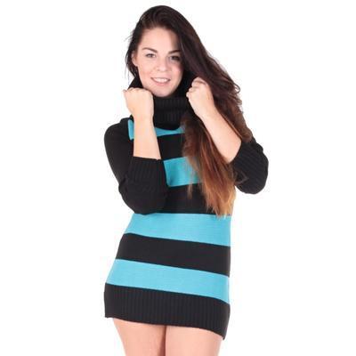 Luxusní modrý pulovr Tereza s rolákem - 2
