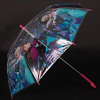 Průhledný holový dětský deštník Frozen růžový - 2