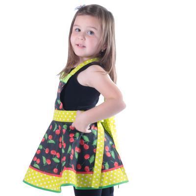 Dívčí černá zástěra Beatha s třešněmi - 3