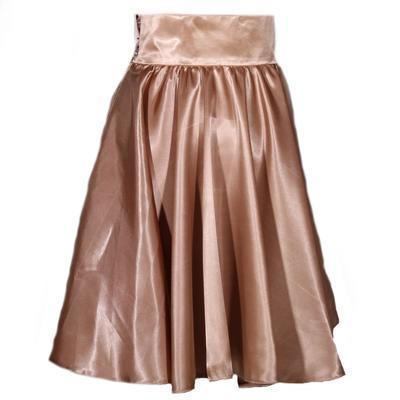 Hnědá saténová sukně s pevným pasem Kimberly - 3
