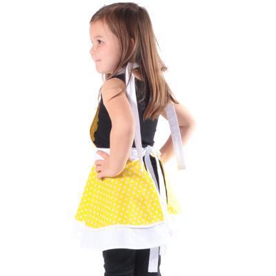 Dívčí žlutá zástěra Nina s puntíky - 3