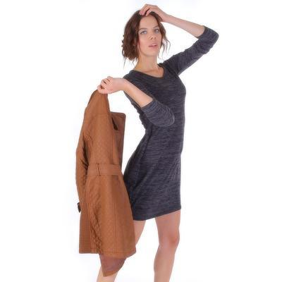 Luxusní prošívaný hnědý kabát Celest - 3