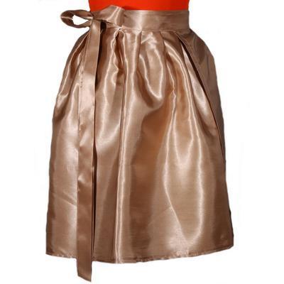 Hnědá saténová zavinovací sukně Victorie - 3