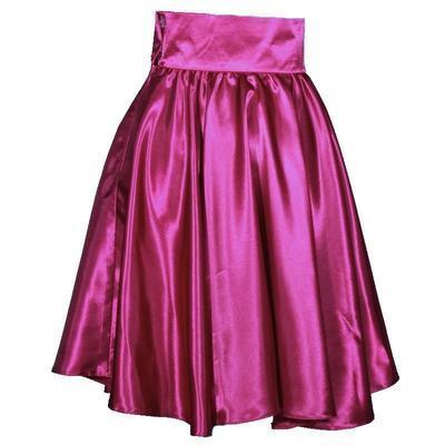 Tmavě růžová saténová sukně s pevným pasem Kimberly - 3