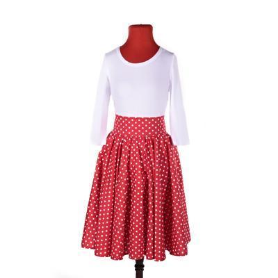 Červená sukně s pevným pasem Red s puntíky - 3