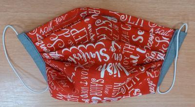 Bavlněná rouška pro dospělé na gumičky červená písmenka - 3
