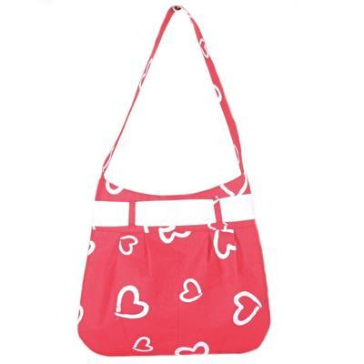 Červená plátěná kabelka Aurelie se srdíčky - 3