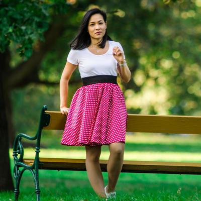 Růžová kolová sukně Adel s puntíky - 3