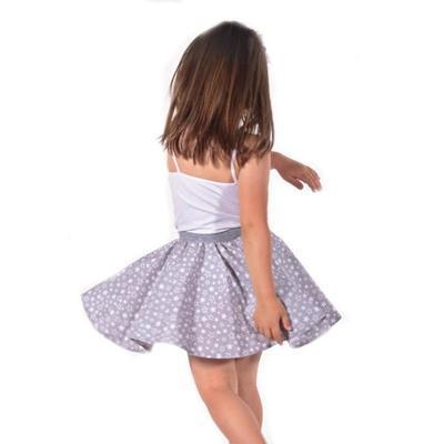 Dívčí šedá kolová sukně Elza s hvězdičkami - 3