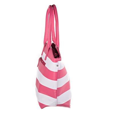 Pruhovaná dámská kabelka Lerry růžová - 3