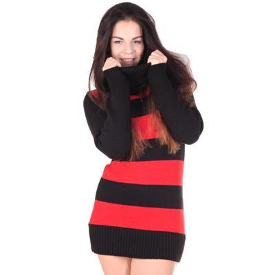 Luxusní červený pulovr Tereza s rolákem - 3