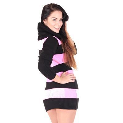 Luxusní růžový pulovr Tereza s rolákem - 3