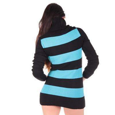 Luxusní modrý pulovr Tereza s rolákem - 3